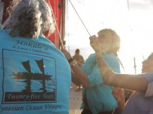 Pūlama Lānaʻi Leadership Aboard Hōkūleʻa